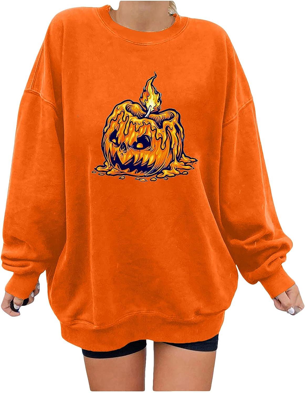 wodceeke Women's Crewneck Sweatshirt Skull Graphic T Shirts Long Sleeve Pullover Tops Loose Tunic