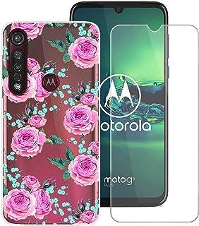 YZKJ Fodral för Motorola Moto G8 Plus Cover hållbar mjuk silikon skyddande skal TPU skal skal skal skal skal + pansarglas ...