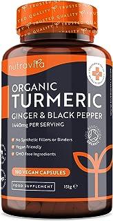 Ekologisk gurkmeja kurkumin 1440 mg med svartpeppar och ingefära - 180 ve-ganska högpotenta gurkmejakapslar (3 månaders fö...