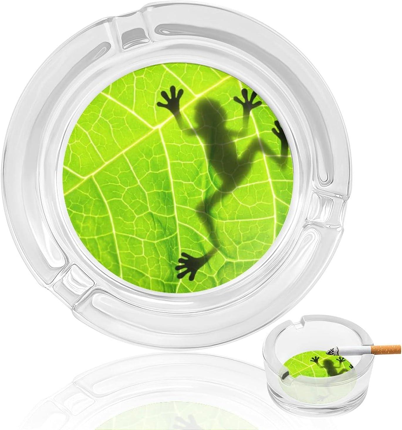Frog Max 76% OFF Shadow On Leaf Smoking Ashtray Cigar Cigarette Ash Tr Glass Max 70% OFF