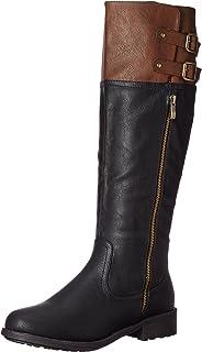 DREAM PAIRS Women's BRADENN Boot, black camel, 9.5 B(M) US M US
