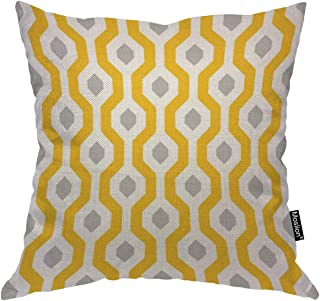 Moslion Hexagon Throw Pillow Cover Geometric Trellis Polygon Yellow White and Grey Square Pillow Case Cushion Cover for Home Car Decorative Cotton Linen 18x18 Inch