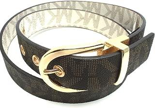 Michael Kors Women's Reversible Belt Monogram Chocolate Vanilla Faux Leather Gold-Tone Buckle (M)