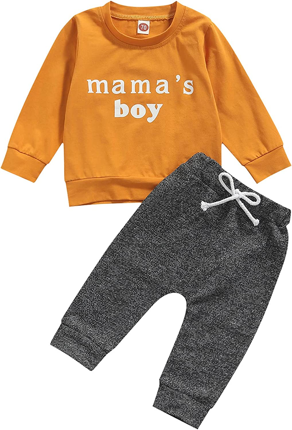 Newborn Baby Boys Clothes Set Letter Print Long Sleeve Pullover Shirt Tops and Pants Sweatsuit Outfit Set