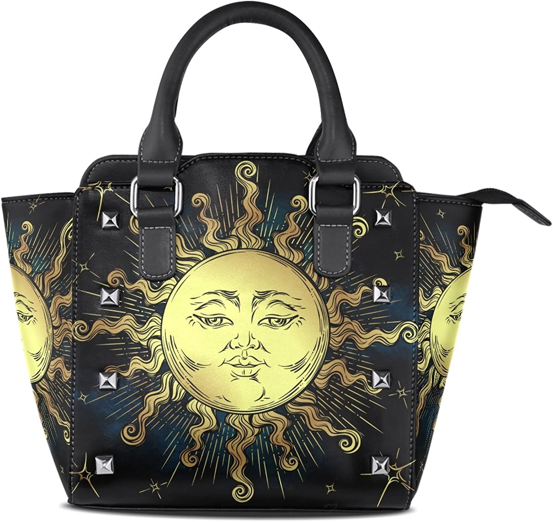 Sunlome Boho golden Sun Stars Astrology Magic Symbol Print Handbags Women's PU Leather Top-Handle Shoulder Bags