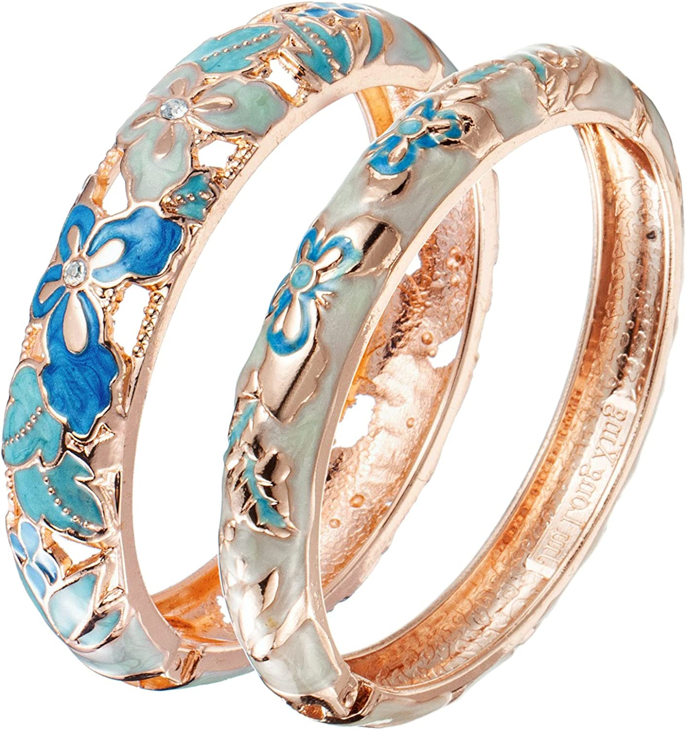 UJOY Bracelet Cloisonne Jewelry Fashion Opening Hinged Bangles Crafted Blue Colored Enamel Flower Gifts for Women 88A11