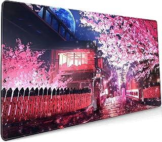 Japanese Sakura Anime Extended Mouse Pad 35.4x15.7 Inch XXL Pink Cherry Blossom Flower Non-Slip Rubber Base Large Mousepad...