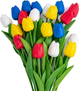 20pcs Artificial Flowers Fake Tulips for Decoration. Fake Flowers Artificial Tulip Bouquet Real Touch PU Faux Flowers for ...