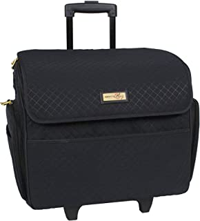 Everything Mary Black Stamped Rolling Sewing Machine Tote - Sewing Machine Case Fits Most Standard Brother & Singer Sewing...