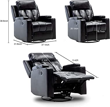 Bonzy Home Air Leather Recliner Chair Swivel and Glider Overstuffed Heavy Duty Recliner - Faux Leather Home Theater Seating with Cup Holder - Manual Bedroom & Living Room Chair Reclining Sofa (Black)