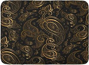 Doormats Bath Rugs Outdoor/Indoor Door Mat Gold Paisley Beautiful Golden Elegant Vintage Pattern Black Light Persian Bathr...