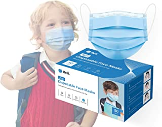 Reli. Kids Face Mask (50 Masks) 3 Layer, Filter Protection, Kids Disposable Face Mask for Children, Small Size, Breathable...