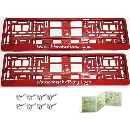 2 Stück Kennzeichenhalter Rot Chrom Mit Wunschtext Beschriftung Werbung Bedruckt Auto