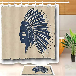 CdHBH Maya Inca Tribal Men's Pattern Bathroom Shower Curtain Set Waterproof Fabric with Flannel Material Non-Slip Bathroom mat Including 12 Plastic Hooks for Bathroom Shower Room Hotel
