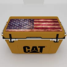 Caterpillar Cat Cooler with American Flag Lid Graphic, Cat Yellow, 55 Quart