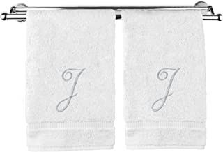 Monogrammed Washcloth Towel, Personalized Gift, 13x13 Inches - Set of 2 - Silver Script Embroidered Towel - Extra Absorbent 100% Turkish Cotton - Soft Terry Finish - Initial J White