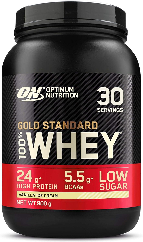 Optimum Nutrition Gold Standard 100% Whey Proteína en Polvo, Glutamina y Aminoácidos Naturales, BCAA, Helado de Vainilla, 30 Porciones, 900g