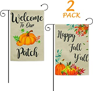 FHzytg 2Pcs Happy Fall Y'all Garden Flag +Welcome to Our Pumpkin Patch, 12.5 x 18 Vertical Burlap Double Sided Fall Autumn Harvest Yard Flag Garden Flag, Maple Leaf Leaves Pumpkins Outdoors Decor