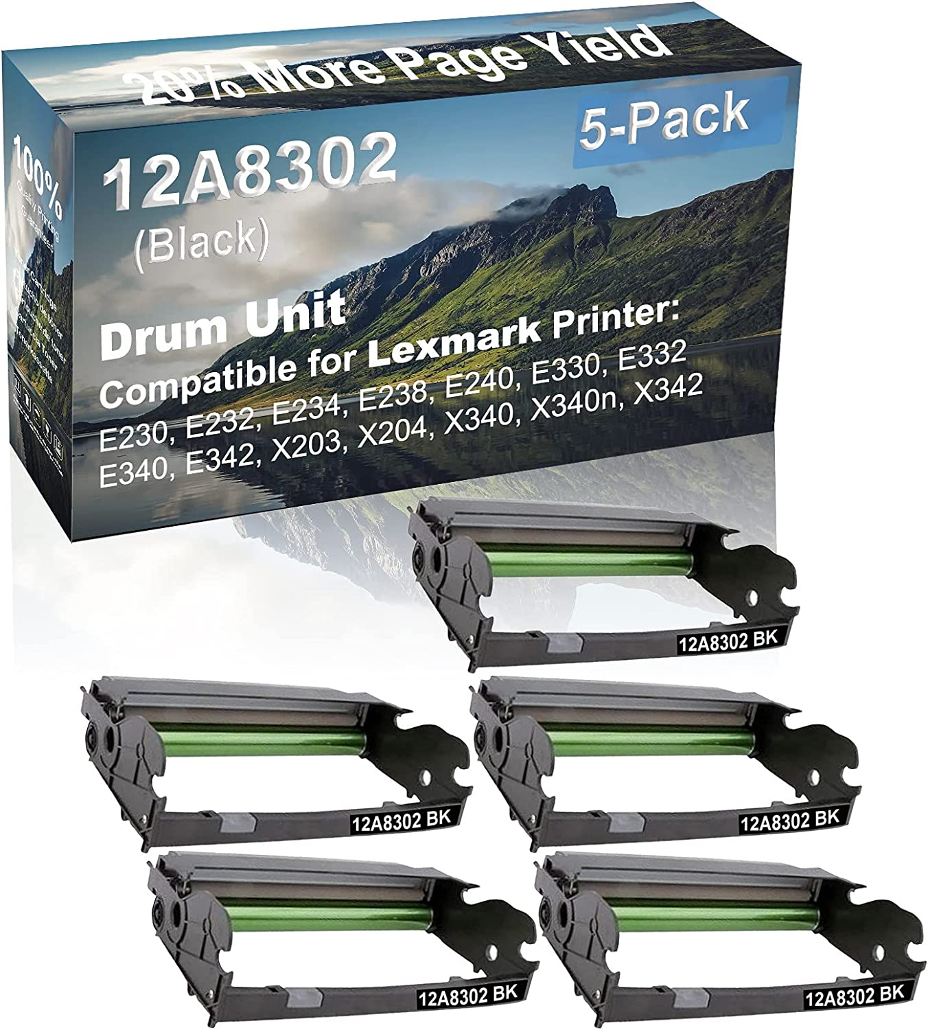 5-Pack (Black) Compatible X203, X204, X340, X340n, X342 Printer Drum Unit Replacement for Lexmark 12A8302 X340H22G Drum Kit