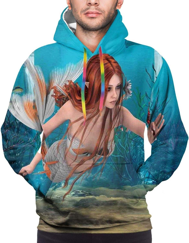 Men's Hoodies Sweatshirts,Lifelike Mermaid Holding A Sea Lily Magic Aquatic World Theme