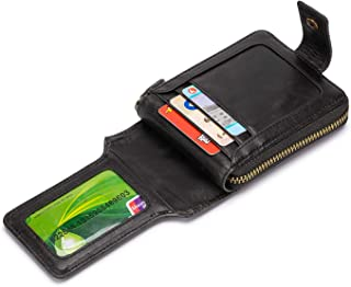 RFID Blocking Mens Leather Wallet,Large Capacity Zipper Card Wallet Card Holder Purse