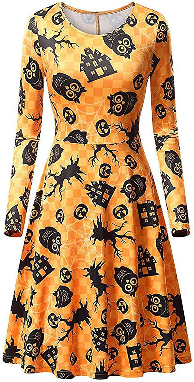 Women's Halloween Dress Long Ranking TOP16 Excellent Sleeve O-Neck Head Pumpkin Skull Pr
