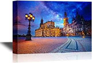 wall26 - Canvas Wall Art - Dresden Image of Dresden, Germany During Twilight Blue Hour - Gallery Wrap Modern Home Decor | Ready to Hang - 16x24 inches