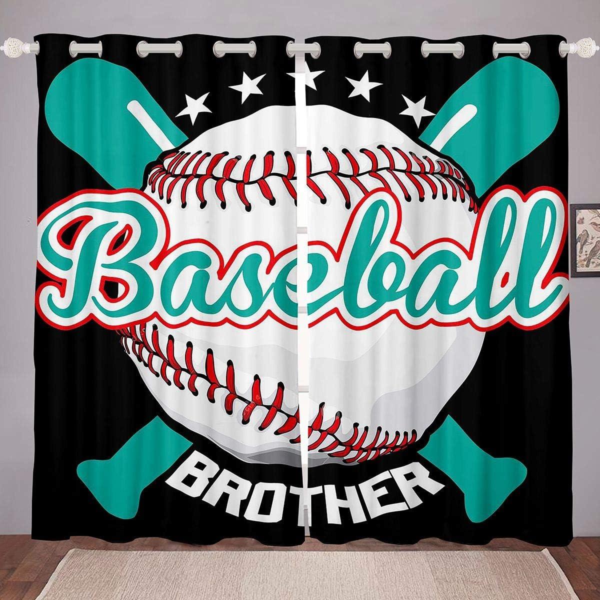 Feelyou Sports Baseball Curtains for Room Bedroom ついに入荷 3D Base 永遠の定番 Living