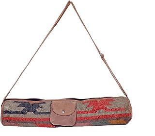 IndiWeaves Vintage Handmade Kilim Leather Handle Yoga Bag