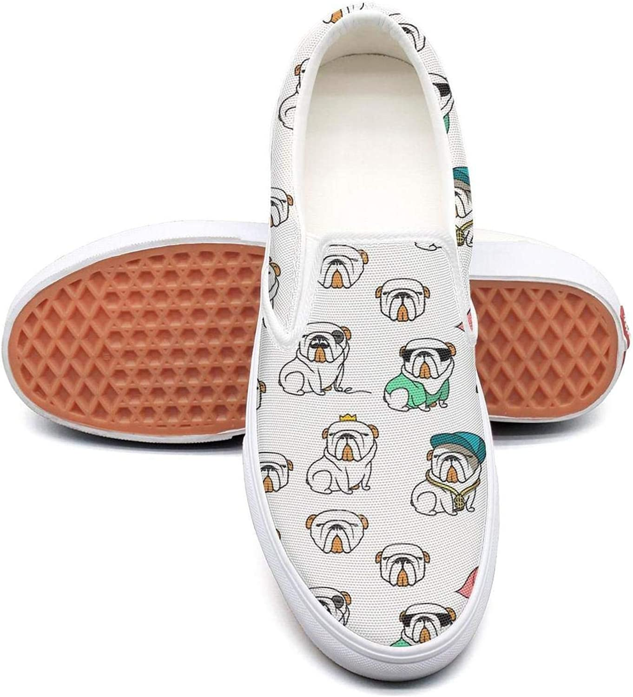 Feenfling English Bulldog Humor Womens Casual Slip on Low Top Canvas Tennis shoes