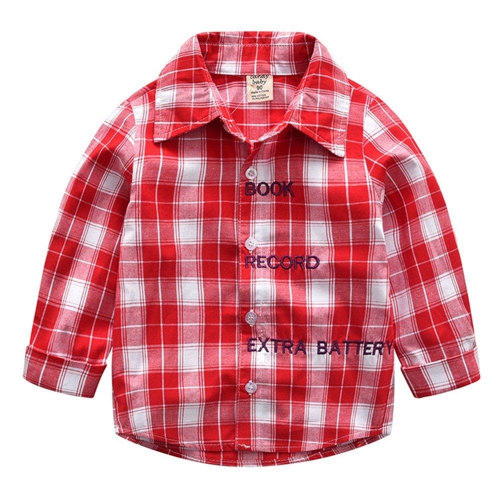 QTONGZHUANG Cárdigan de Primavera y Verano de Amazon para niños Camisa de Cuadros de Manga Larga Hermosa en Camisa de un pequeño Caballero, Rojo, 6T (130cm): Amazon.es: Deportes y aire libre