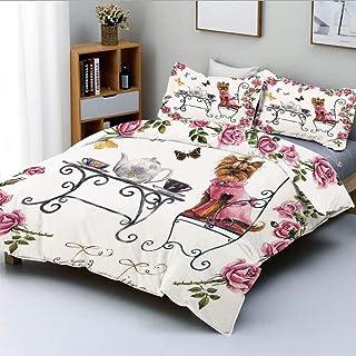 Dekbedovertrek, Yorkshire Terrier in roze jurk Een theekransje Tea Time Vlinders Rozen Decoratief Decoratief 3-delig bedde...
