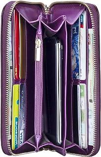 Monedero Grande de Mujer RFID Blocker Cartera de Piel Porta Tarjetas de Crédito, Púrpura