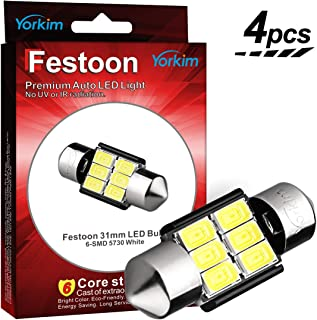 Yorkim 31mm Festoon LED Bulbs White Super Bright LED Interior Car Lights Error Free CANBUS 6-SMD 5730 Chipsets, DE3175 LED Bulb, DE3022 LED, 3175 LED Bulbs - Pack of 4