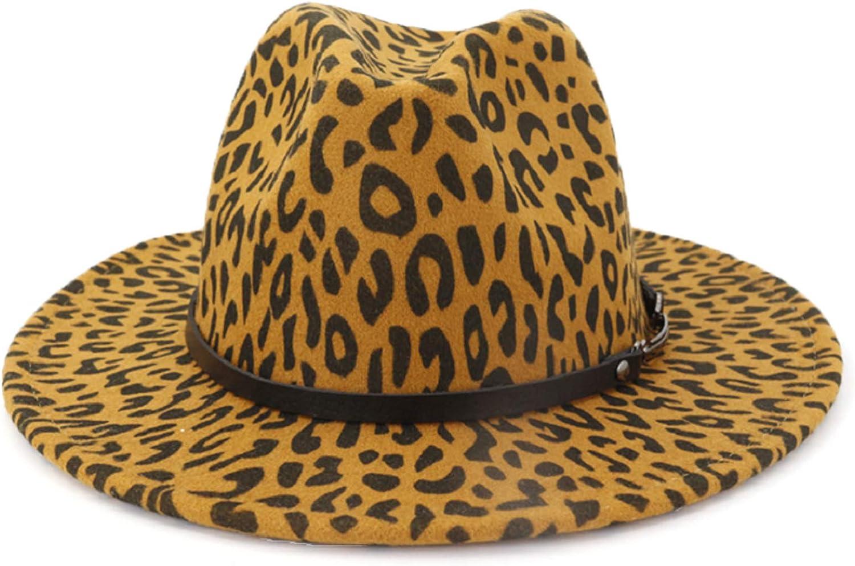 Womens Felt-Panama-Hat Wide Brim Classic Fedora-Hat with Leopard Print Belt Buckle