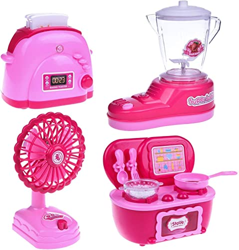 JAY ANTIQUES 4 in 1 Battery Operated Pink Household Home Appliances Kitchen Pretent Play Sets Toys for Girls
