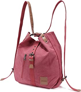 Multifunctional Canvas Bag, JOSEKO Women Convertible Backpack Purse Ladies Shoulder Bag Casual Handbag