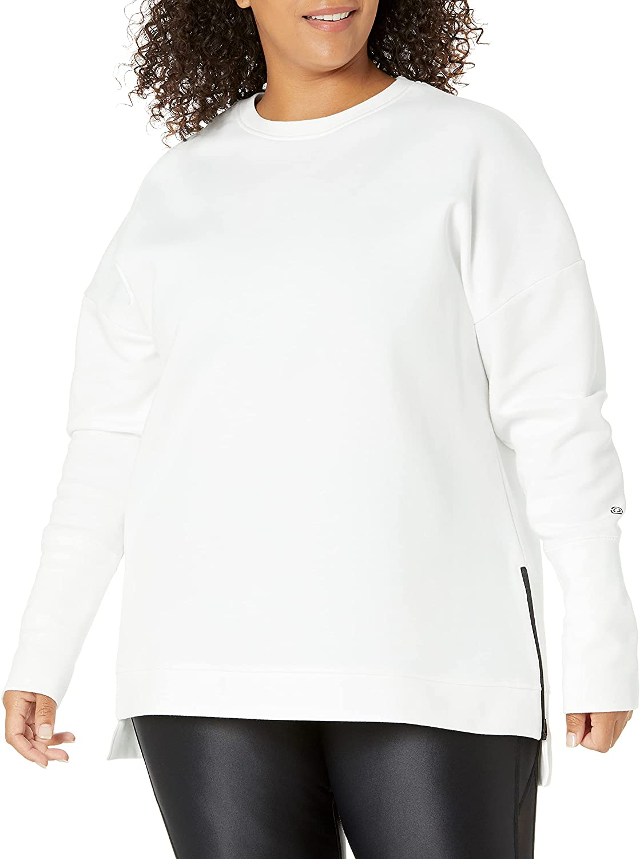 Amazon Brand - Core 10 Women's (XS-3X) Motion Tech Fleece Relaxed Fit Long Sleeve Crew Sweatshirt