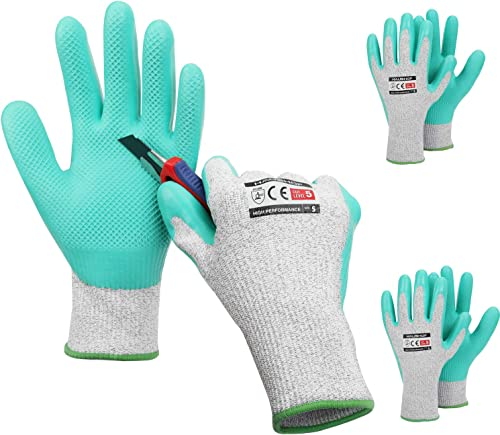 wholesale HAUSHOF 3 Pairs Latex Coated Working Gloves, Level wholesale 5 Cut Resistant Garden Gloves 2021 for Gardening, Restoration Work, Small online sale