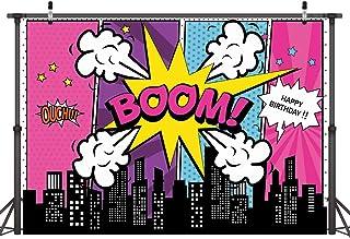 LYWYGG 7x5FT Vinilo Colorido Telón de Fondo Fotografía Edificios de la Ciudad Dibujos Animados Superhéroe Cumpleaños Baby Shower Fondo para Fiesta Estudio Accesorios CP-136