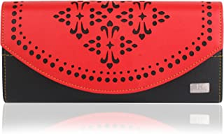 K London Hazelwood Print Handmade Women's Clutch/Wallet (Red,Black) (1602_Red)