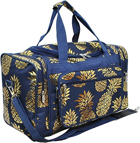 Southern Pineapple Print NGIL Canvas Carry on 20″ Duffle Bag Gold Collection