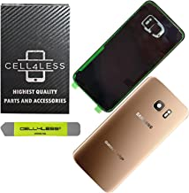 CELL4LESS Compatible Back Glass Cover Back Battery Door w/Pre-Installed Camera & Adhesive Compatible w/Samsung Galaxy S7 Edge - All Models G935 All Carriers- 2 Logo - (Gold Platinum)