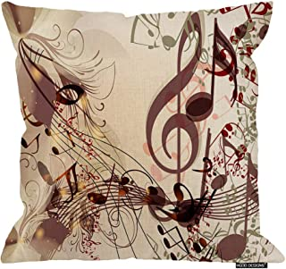 HGOD DESIGNS Musicnotes Square Pillow Cushion Cover,Creative Music Background with Notes for Swirl Design Cotton Linen Cushion Covers Home Decorative Throw Pillowcases 18x18inch