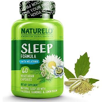 NATURELO Natural Sleep Aid - with Melatonin, Magnesium, GABA, Valerian Root, Lemon Balm, Chamomile Extracts - Best Natural Sleeping Aid - 60 Vegan Capsules