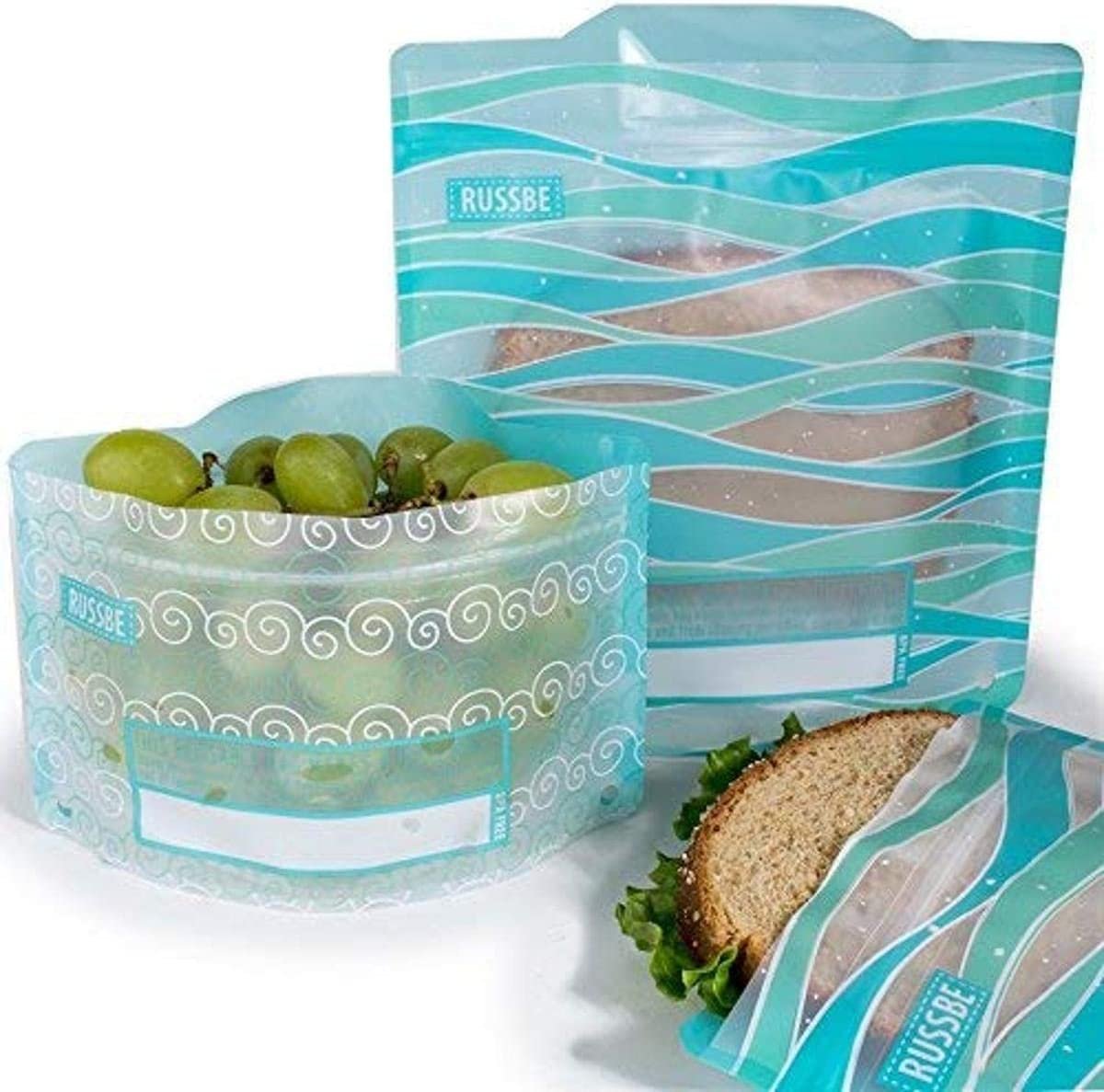 Russbe Waves Reusable Snack & Sandwich Bags (Set Of 4), Turquoise