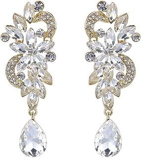 Clearine Women's Bohemian Boho Crystal Flower Wedding Bridal Chandelier Teardrop Bling Dangle Earrings