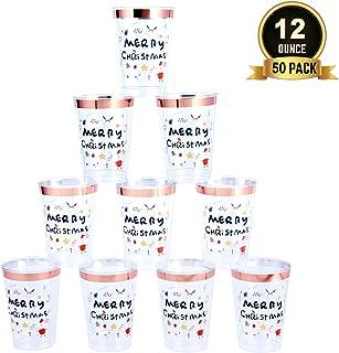 TOROTON 50 Copas de Plástico Desechables, 350ml Plástico Reutilizable y Duradero Tazas, para Navidad, Fiesta Infantil - Feliz Navidad