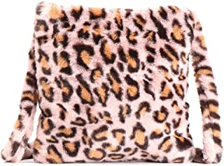 Damen Leopard Print Plüsch Kunstfell Schultertasche Crossbody Bag Vintage Große Kapazität Flauschige Plüsch Handtaschen Me...