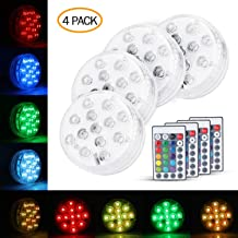 MUCH Submersible 13 LED Lights Pool IP68 Waterproof Remote Control RGB Multicoloured Decorative Underwater Lamp for Pool Pond Bathtub Party Fountain Waterfall Battery Operated (4 Pack)